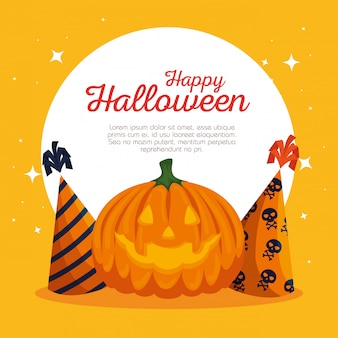 Carte d'halloween avec citrouille et chapeaux de fête