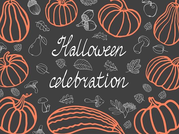 Carte d'halloween avec citrouilles champignons feuilles cônes poires pommes baies illustration vectorielle