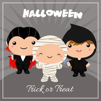 Carte d'halloween avec des costumes d'enfants