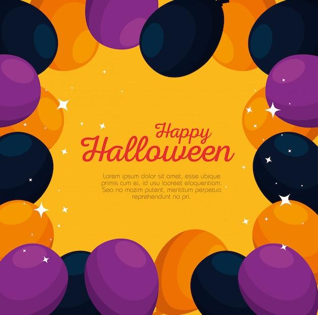 Carte d'halloween avec décoration de fête de ballons