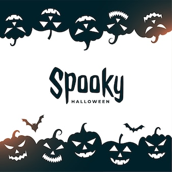 Carte d'halloween effrayante avec des chauves-souris et des citrouilles effrayantes