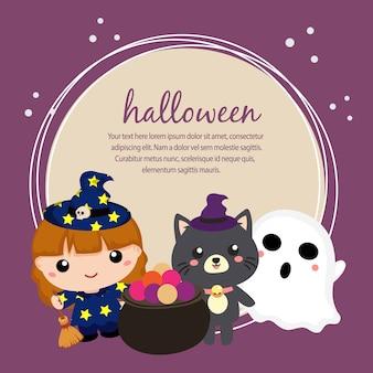 Carte d'halloween avec des enfants adorables et un chat