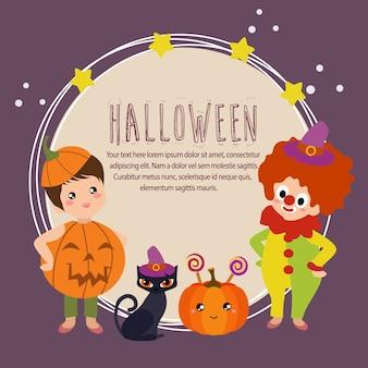 Carte d'halloween avec des enfants de clown