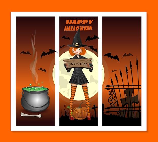 Carte d'halloween avec une fille habillée en sorcière et d'autres attributs de la fête. illustration vectorielle