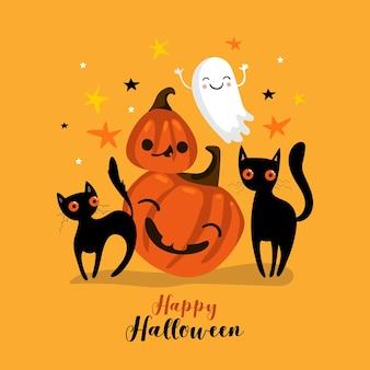 Carte d'halloween heureuse avec caractère citrouille et chat noir. vecteur eps10