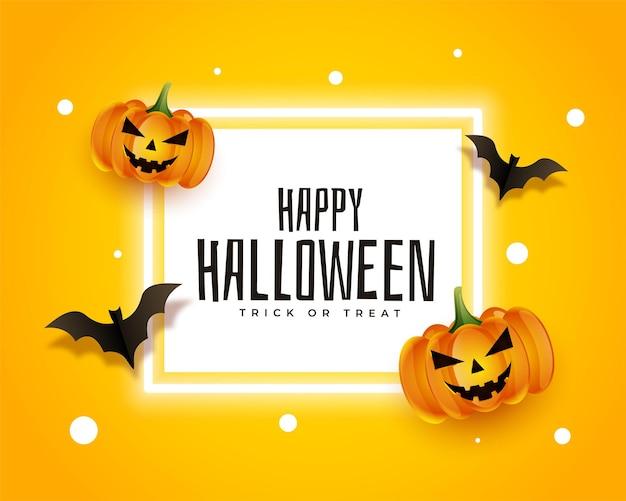 Carte d'halloween heureuse réaliste avec des chauves-souris et des citrouilles