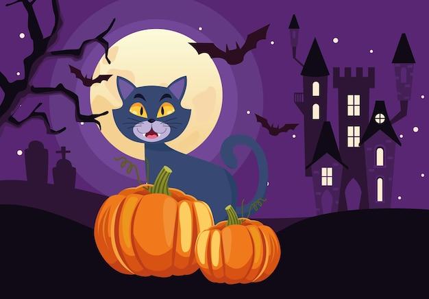 Carte d'halloween heureux avec chat et citrouille dans la scène du château