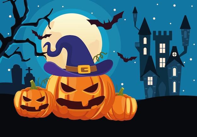 Carte d'halloween heureux avec château et citrouilles