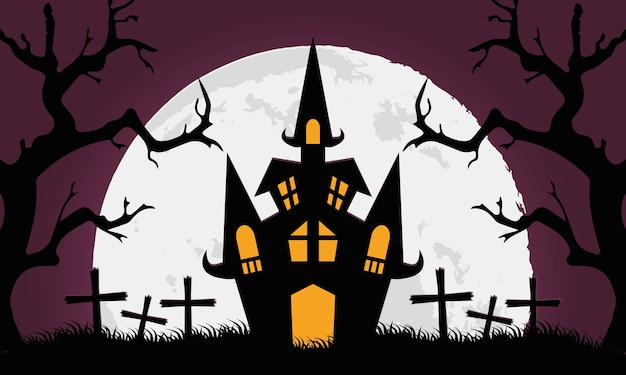Carte d'halloween heureux avec château dans la conception d'illustration vectorielle cimetière