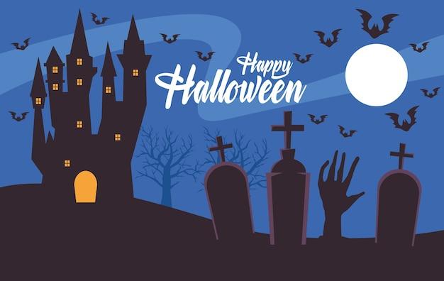 Carte d'halloween heureux avec château hanté au cimetière