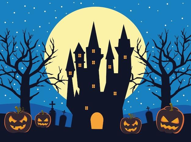 Carte d'halloween heureux avec château hanté et citrouilles
