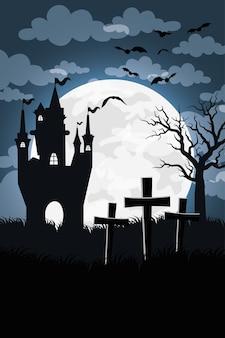 Carte d'halloween heureux avec château hanté dans la conception d'illustration vectorielle scène cimetière