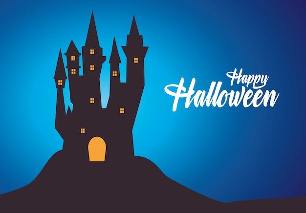 Carte d'halloween heureux avec château hanté et lettrage