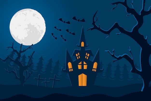 Carte d'halloween heureux avec château et lune dans la conception d'illustration vectorielle scène cimetière