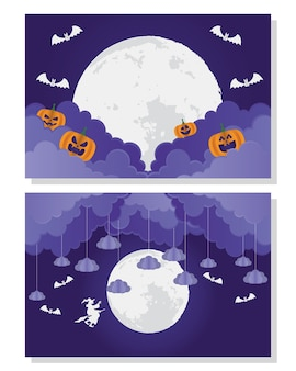 Carte d'halloween heureux avec citrouille et sorcière dans la conception d'illustration vectorielle de scènes de lunes