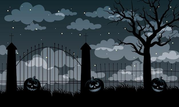 Carte d'halloween heureux avec des citrouilles et des portes de conception d'illustration vectorielle scène