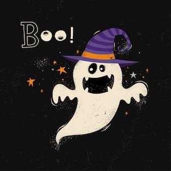 Carte d'halloween heureux avec dessin animé fantôme.