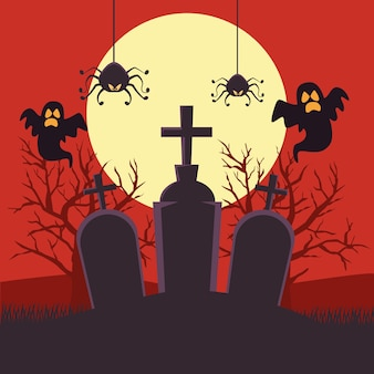 Carte d'halloween heureux avec des fantômes et des araignées dans la conception d'illustration vectorielle scène de nuit de cimetière