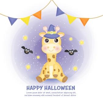 Carte d'halloween heureux avec girafe mignonne dans le style de couleur de l'eau.