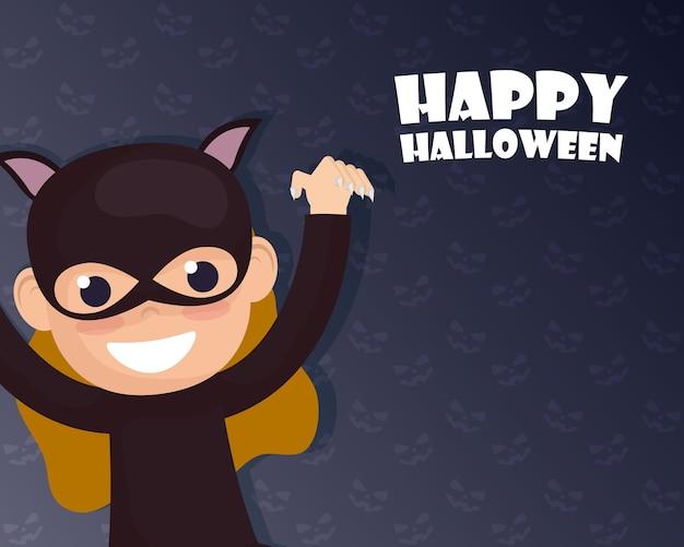 Carte d'halloween heureux avec lettrage et conception d'illustration vectorielle de caractère catwoman
