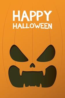 Carte d'halloween heureux avec lettrage et conception d'illustration vectorielle visage citrouille