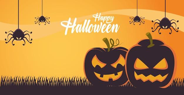 Carte d'halloween heureux avec scène de citrouilles et d'araignées