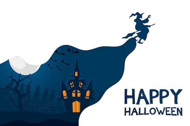 Carte d'halloween heureux avec sorcière volant et château dans la conception d'illustration vectorielle scène cimetière
