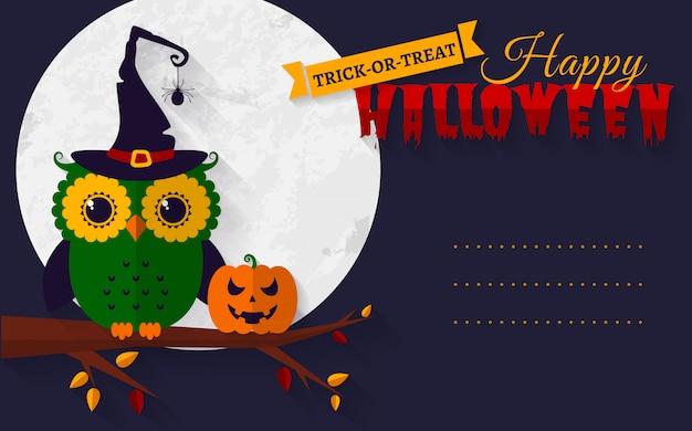 Carte d'halloween avec hibou et citrouille.