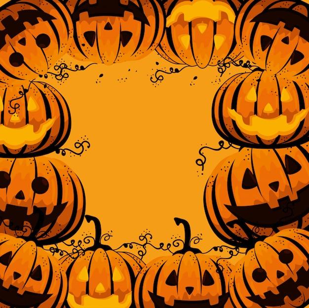 Carte d'halloween avec motif de citrouilles
