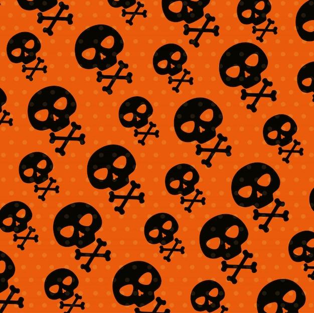 Carte d'halloween avec motif de crânes