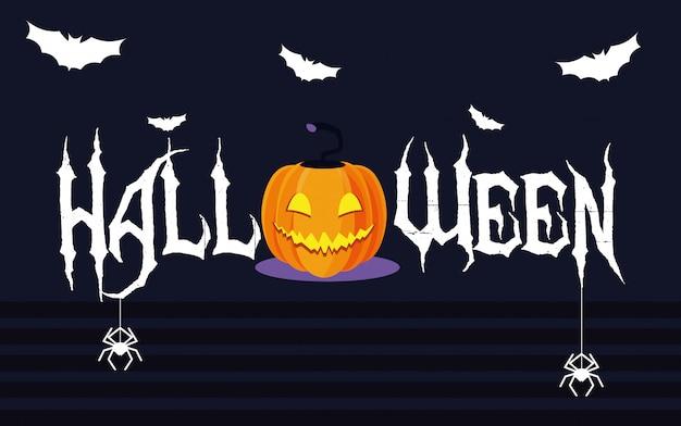 Carte d'halloween avec personnage de citrouille
