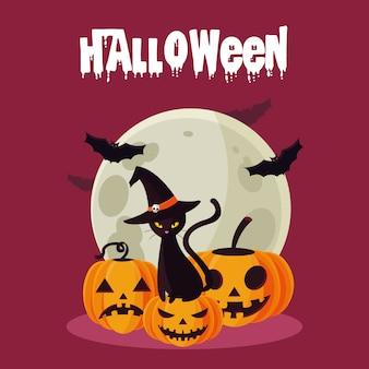 Carte d'halloween avec personnages de citrouille et chat