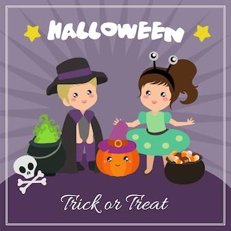 Carte d'halloween avec des personnages de costumes extraterrestres
