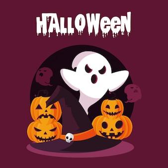 Carte d'halloween avec des personnages fantômes et citrouilles