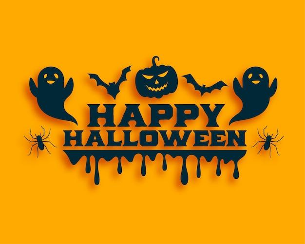 Carte d'halloween plate avec fantôme et chauves-souris volantes
