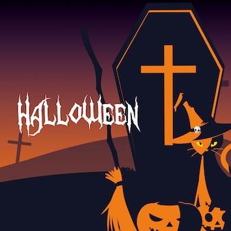 Carte d'halloween avec une scène de cimetière de nuit