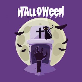 Carte d'halloween avec une tombe de cimetière