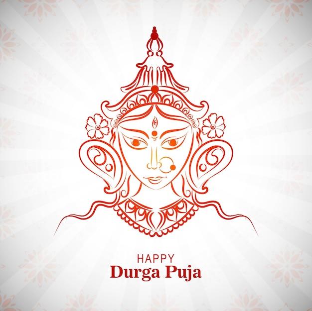 Carte happy durga pooja festival indien