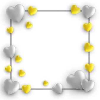 Carte happy valentines day, cadre avec des coeurs sur blanc avec des couleurs tendance gris et jaune