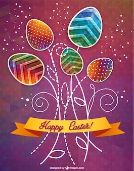 Carte heureuse de bannière de pâques