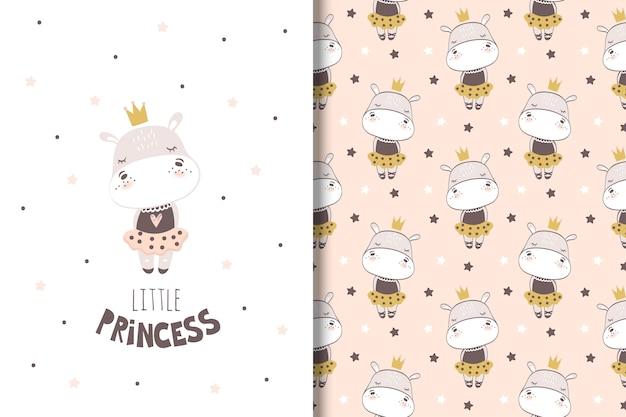 Carte d'hippopotame petite fille et modèle sans couture pour les enfants