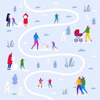 Carte d'hiver avec parc de la ville, les parents marchent avec les enfants et s'amusent en plein air. les gens font des bonhommes de neige et dans la forêt. modèle vectoriel pour carte d'invitation, conception de flyer, carte postale, fond de vacances