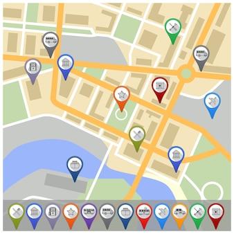 Carte avec des icônes gps