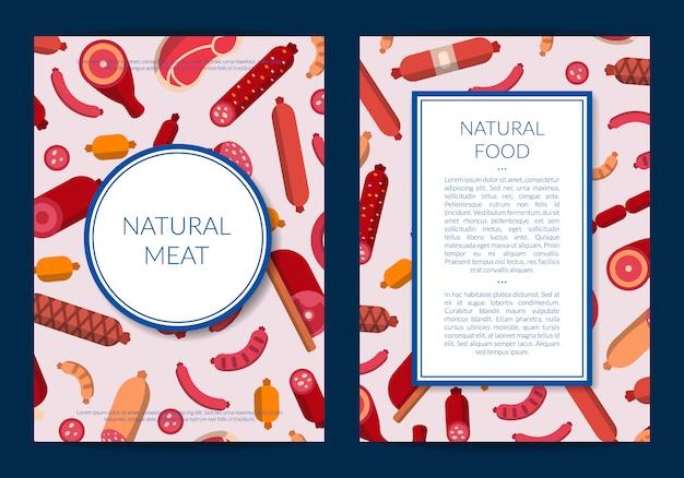 Carte d'icônes de viande et de saucisses plates ou illustration de modèle de flyer