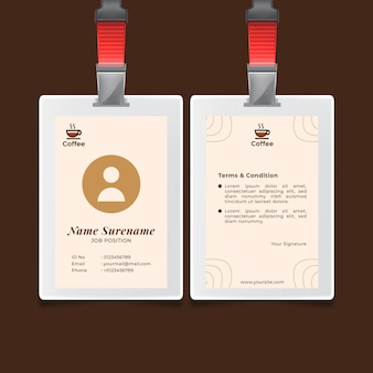 Carte d'identité de café de qualité supérieure