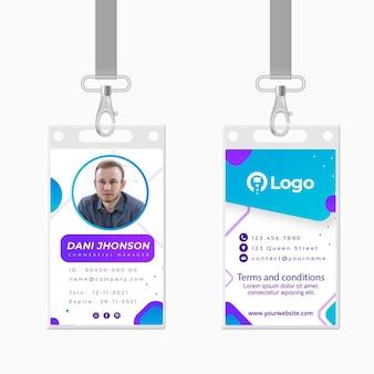 Carte d'identité commerciale marketing
