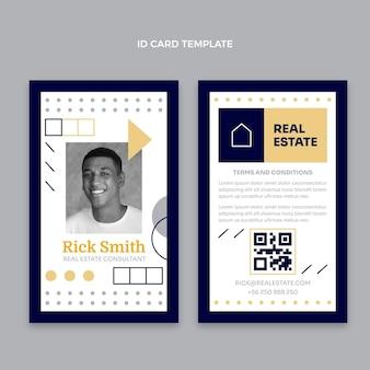 Carte d'identité immobilière géométrique design plat