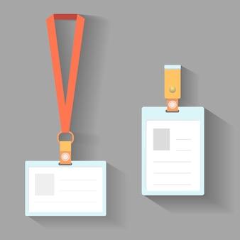 Carte d'identité de lanière sur un design plat