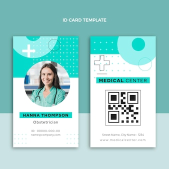 Carte d'identité médicale design plat