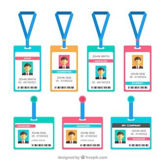 Carte d'identité plate avec collection fermoirs et cordons